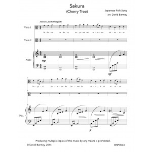 Sakura - arr. by David Banney for two violas and piano (Score plus parts) - DIGITAL DOWNLOAD (pdf)