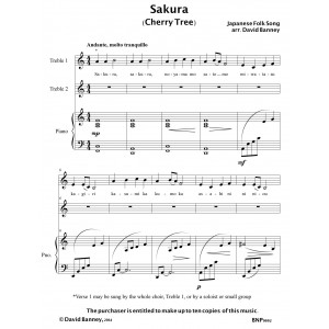 Sakura - arr. by David Banney for 2-part choir and piano - multiple copies permitted - DIGITAL DOWNLOAD (pdf)